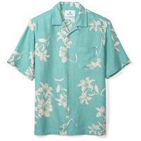 28 Palms Men's Relaxed-Fit Silk/Linen Hawaiian Shirt, Aqua Vintage Floral, X-Small