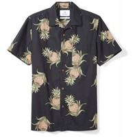 28 Palms Men's Standard-Fit 100% Cotton Hawaiian Shirt, Black Pineapple, X-Small