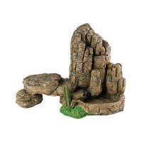 Reptile Rock Mountain & Cactus with Water Food Bowl Vivarium Ornament