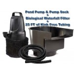 Submersible Pond Pump 3200 GPH + Waterfall Filter Combo Kit with Pump Protector and 25ft Kink Free Tubing
