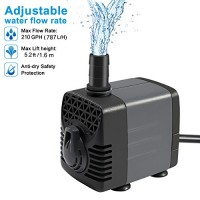 Ankway Upgraded 210GPH(787L/H, 15W) Submersible Water Pump Humanized Rotation Switch with 2 Nozzles for Pond, Aquarium, Fish Tank Fountain Water Pu...