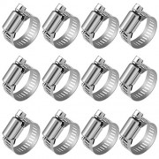"""Anpro Pack of 12 Hose Clamp Stainless Steel Clamps Worm-Gear Hose Clamp, Miniature Power-Seal Worm-Drive Kit, 1/2""""-1-1/16""""(14-27mm)"""