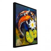 Art Wall Michael Creese 'Koi Fish and Water Lily' Floater Framed Gallery-Wrapped Canvas Artwork, 24 by 32-Inch, Holds 22.5 by 30.5-Inch Image