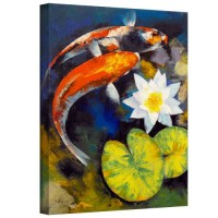 Art Wall Michael Creese 'Koi Fish And Water Lily' Gallery-Wrapped Canvas, 18 by 24-Inch