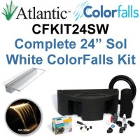 "Atlantic Water Gardens CFKIT24SW Complete Sol White Colorfalls Lighted Falls Kit - 24"" Spillway, Basin, Pump, Hose & Fittings"