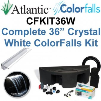 """Atlantic Water Gardens CFKIT36W Complete Crystal White Colorfalls Lighted Falls Kit - 36"""" Spillway, Basin, Pump, Hose & Fittings"""
