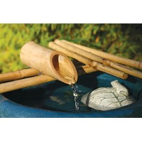Bamboo Accents 12 Inch Five Arm Natural Bamboo Fountain and Pump Kit for Use with Any Container. Split Resistant, Handmade, Indoor Outdoor