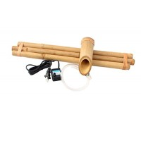 Bamboo Fountain with Pump Large 18 Inch Three Arm Style, Indoor or Outdoor Fountain, Natural, Split Resistant Bamboo, Combine with Any Container to...