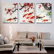 HD Print Cherry Blossom Koi Fish Painting Canvas wall art Prictue home decor print poster picture canvas /PT1053,50x70cmx3pcs,Framed