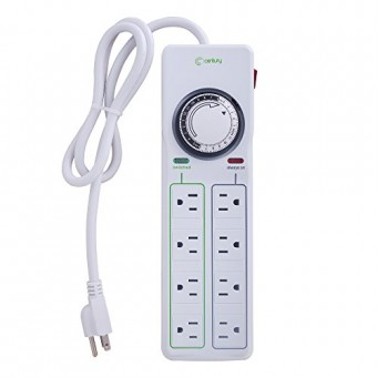Century 8 Outlet Surge Protector with Mechanical Timer (4 Outlets Timed, 4 Outlets Always On) - White