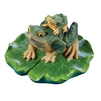Collections Etc Lotus Leaf & Frogs Floater Outdoor Pool & Pond Ornament Garden Decoration