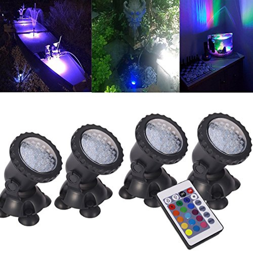 Pond Lights Remote Control Submersible Lamp Set Of 4