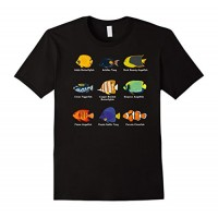 Mens Tropical Fish Guide with Clownfish and Angelfish T-Shirt 2XL Black