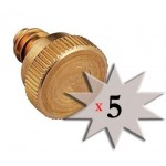 5 pack - PROFESSIONAL GRADE Brass Misting Nozzle Plug 10/24 male threads by Cz Garden Supply