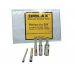 "Drilax™ 5 Pcs Diamond Drill Bit Set 3/16"", 1/4"", 5/16"", 3/8"", 1/2"" - Wet Use for Tiles, Glass, Fish Tanks, Marble, Granite, Ceramic, Porcelain, Bot..."