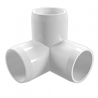 """FORMUFIT F0343WE-WH-8 3-Way Elbow PVC Fitting, Furniture Grade, 3/4"""" Size, White (Pack of 8)"""