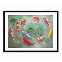 Fengshui Decoration for Office, Nine Koi Fish Painting Artwork Print on Canvas Wall Art Fengshui Wall Decoration, Framed and Ready to Hang