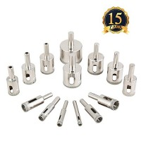 Diamond Drill Bits, Genround 15 PCS Hollow Core Drill Bit Set for Ceramic, Glass, Porcelain Tile Diamond Hole Saw Tile Set Glass Drill Bit, 1/4 to ...