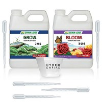 Dyna-Gro Grow and Bloom Liquid Fertilizer Quart (32oz) with 5 Pipettes and 4oz Measuring Cup, Organic Plant Food Nutrients, All Purpose Grow, Conce...
