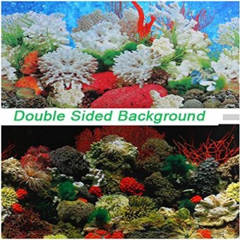 "Double Sided Aquarium Coral Fish Tank Background Backdrop Reptile Marine Poster (11.81""x16.54""/30x42cm)"