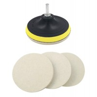Kicpot Wool Felt Disc Polishing Pads and Backing Pad with M14 Drill Adapter Kit to Grind and Polish Glass Plastic Metal Marble