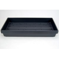 "5 Pack of Durable Black Plastic Growing Trays (with drain holes) 20"" x 10"" x 2"" - Planting Seedlings, Flowers, Wheatgrass, Microgreens"