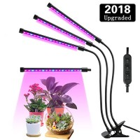 Lovebay Three Head LED Grow Light with Clip Base, 27W 54 LEDs Plant Grow Tube Lamp for Office Indoor Greenhouse Plants Herb Succulents, 360° Bendab...