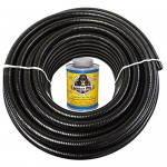 HydroMaxx 25 Feet x 2 Inch Black Flexible PVC Pipe, Hose and Tubing for Koi Ponds, Irrigation and Water Gardens. Includes Free 4oz Can of Hot Blue ...