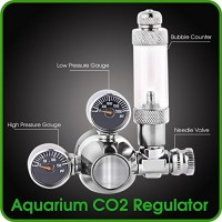 CO2 Regulator Aquarium Mini Stainless Steel Dual Gauge Display Bubble Counter and Check Valve w/ Solenoid 110V Fits Standard US Tanks - LP150 PSI -...