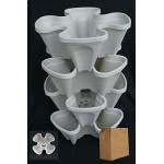 4 Tier Mr Stacky Vertical Planter with Grow Medium- Great for Vegetables, Strawberries, and Lettuces. Vertical Hydroponic Planter