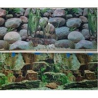 "Aquarium Background Decoration 48"" x 18.5"" 2 Sided Rocky Aquarium"