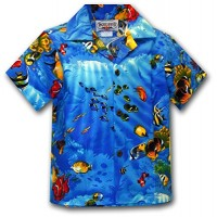 Aloha Fish Boys Tropical Shirts Blue S 211-3202