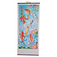 "12"" X 30"" Colorful Koi fish In pond Rattan Wall Scroll"