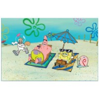 Penn Plax SpongeBob Squarepants Beach Aquarium Background