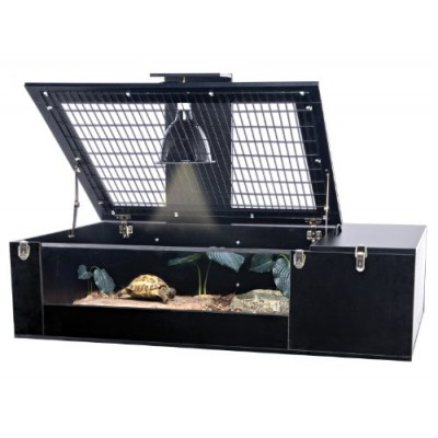 Penn Plax Tortoise Palace with Wire Top, Black Frame and Glass Terrarium