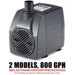 PonicsPump PP80006: 800 GPH Submersible Pump with 6' Cord - 60W... for Hydroponics, Aquaponics, Fountains, Ponds, Statuary, Aquariums, Waterfalls &...