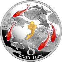 2018 TD Modern Commemorative PowerCoin GOOD LUCK Fishes Koi Carp Eight 1 Oz Silver Coin 1000 Francs Chad 2018 Proof