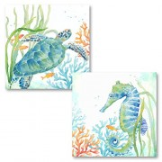 Roaring Brook Lovely Watercolor-Style Tropical Seahorse and Turtle Underwater Set by Cynthia Coulter; Coastal Décor; Two 12x12in Unframed Paper Pos...