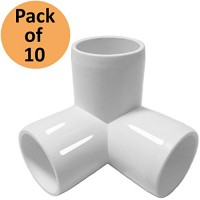 3Way 3/4 inch PVC Fitting Elbow - Build Heavy Duty PVC Furniture - PVC three quarter Elbow Fittings [Pack of 10]