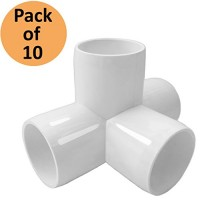 4 Way 3/4 in Tee PVC Fitting Elbow - Build Heavy Duty PVC Furniture - PVC Elbow Fittings (Pack of 10)