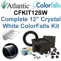 "Atlantic Water Gardens CFKIT12W Complete Crystal White Colorfalls Lighted Falls Kit - 12"" Spillway, Basin, Pump, Hose & Fittings"
