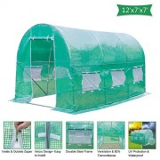 Z ZTDM 12'×7'×7' Outdoor Large Green House Walk in Greenhouses Tents Plants Gardening Backyard Protective Shed Nursery Grow (12'×7'×7')